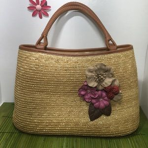 Talbots straw purse with leather flowers